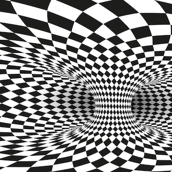 Geometrische vierkante zwart-wit optische illusie