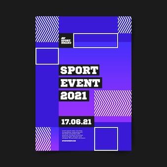 Geometrische vierkanten sportevenement poster sjabloon