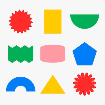 Geometrische vorm sticker, kleurrijke retro platte clipart set vector