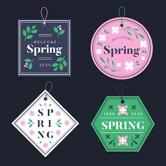 Geometrische vormen badges lente seizoen