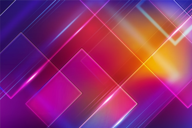 Geometrische vormen met neonlichtenconcept