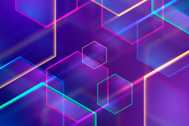Geometrische vormen neonlichten achtergrond concept