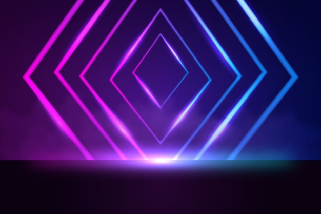 Geometrische vormen neonlichten achtergrond