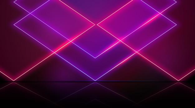 Geometrische vormen neonlichten achtergrondthema
