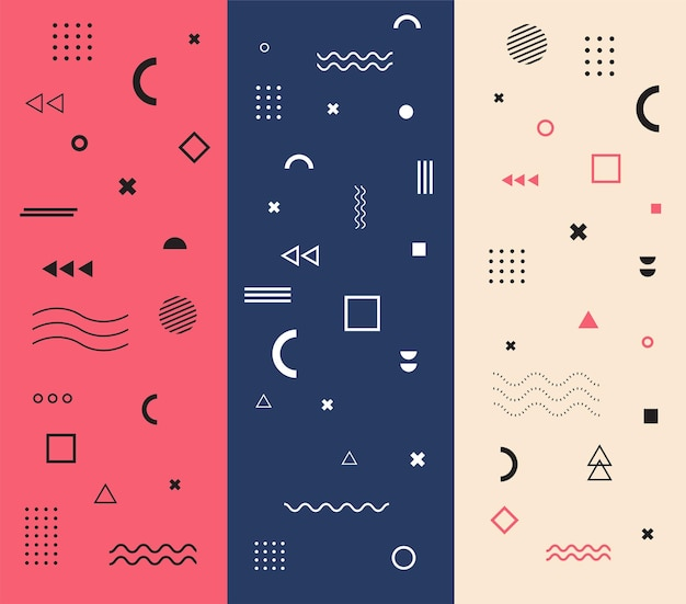 Geometrische vormen set van memphis universele trend 80 90s stijl trendy halftoon