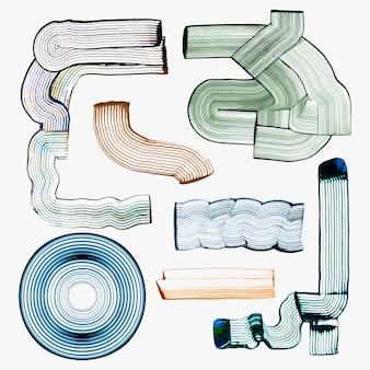 Geometrische vormen textuur vector diy kam schilderij abstracte kunst set Gratis Vector