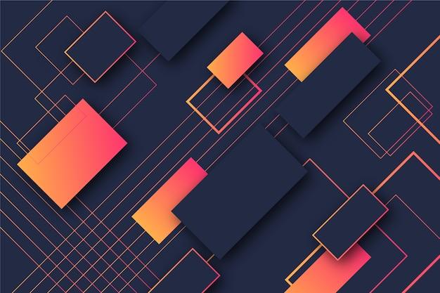 Geometrische vormen van gradiënt oranje rechthoeken op donkere achtergrond