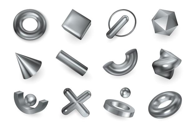 Geometrische vormen zilveren metalen objecten decoratieve elementen kruis hanger facetgeslepen kraal kegel ring realistische set