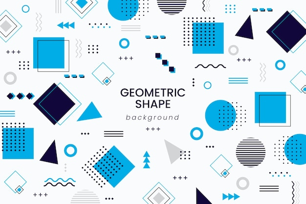 Geometrische vormenachtergrond in vlak ontwerp Premium Vector