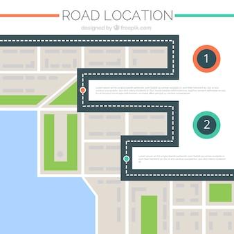 Geometrische wegenkaart met twee pointers