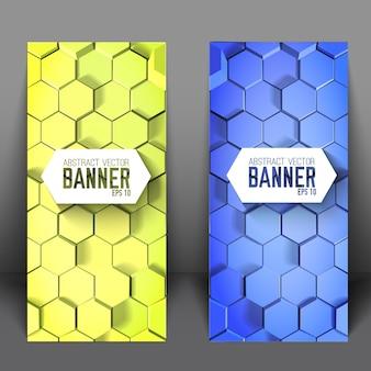 Geometrische wetenschappelijke verticale banners met blauwe en groene zeshoeken
