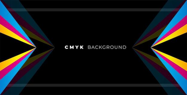 Geometrische zwarte achtergrond met cmyk-kleuren