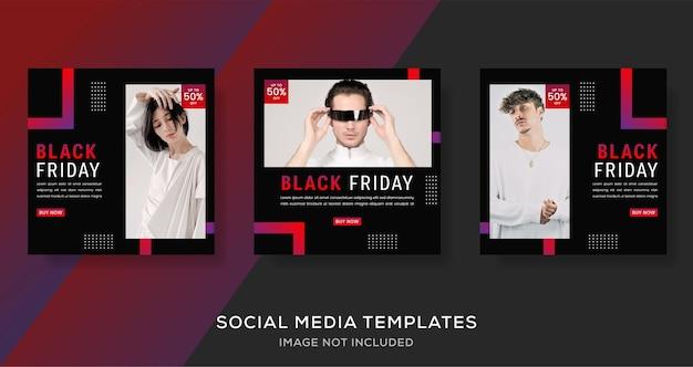 Geometrische zwarte vrijdag mode verkoop banner post.