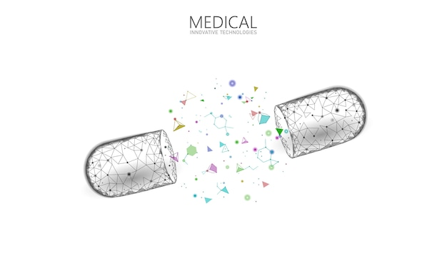 Geopend drug capsule geneeskunde bedrijfsconcept. banner blauw gloeiende medicijn prebiotische probiotische bal gezondheidszorg genezen ziekte. antibiotica vitamine medische voeding laag poly illustratie