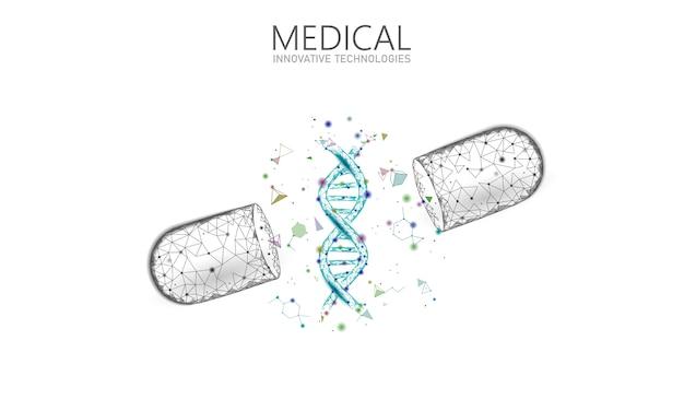 Geopend drug capsule geneeskunde bedrijfsconcept. dna gentherapie blauw medicijn prebiotische probiotische bal gezondheidszorg genezen ziekte. antibiotica vitamine medische voeding laag poly illustratie