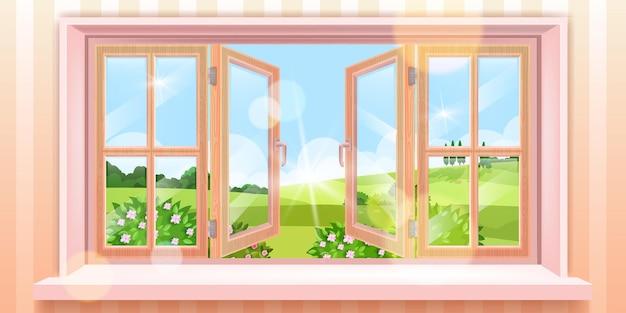 Geopend huisvenster lente landschap, uitzicht buiten zomer, bloesem struiken, blauwe lucht, zon, weide.