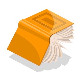 Geopend oranje boek in harde kaft met rechthoeken