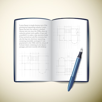 Geopende architecten papieren notitieblok met tekstschetsen en pen