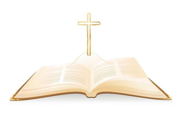 Geopende bijbel en kruis erboven.