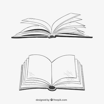 Geopende boeken in de hand getrokken stijl