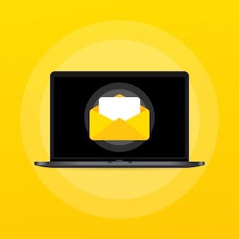 Geopende brief met documentillustratie. e-mail. bericht. vector op geïsoleerde achtergrond. eps-10.