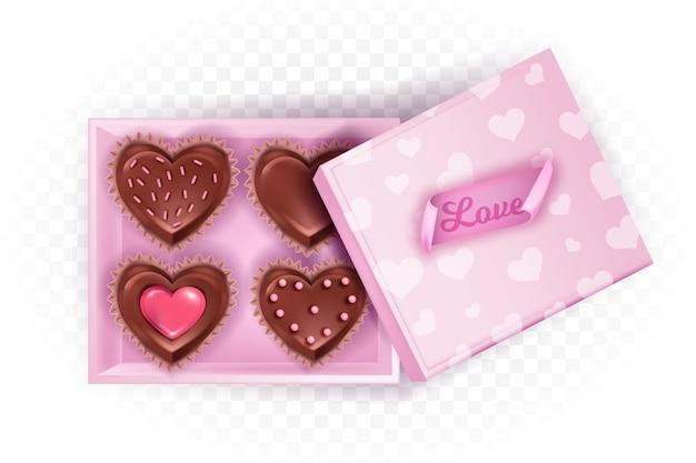 Geopende chocolade snoep valentijnsdag vierkante doos lay-out met hartvormige snoepjes of koekjes, deksel. vakantie februari romantische verrassing illustratie met liefdessticker, cupcakes, dessert. roze bonbondoos