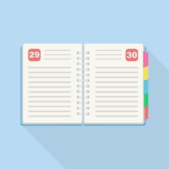 Geopende dagboek, planner, organisator voor planning, organisatiedag. notitieboekje voor schema maken, takenlijst
