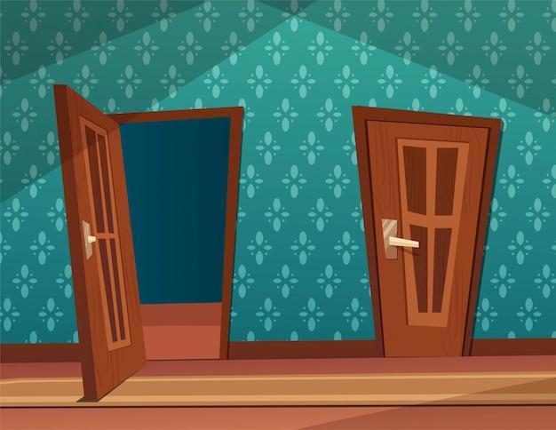 Geopende en gesloten houten deuren in interieur. flat cartoon illustratie.