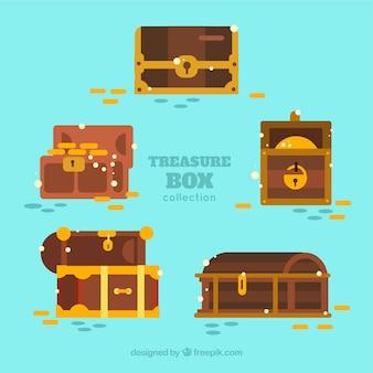 Geopende en gesloten schatkistinzameling met vlak ontwerp