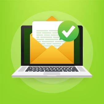 Geopende envelop en document met groen vinkje