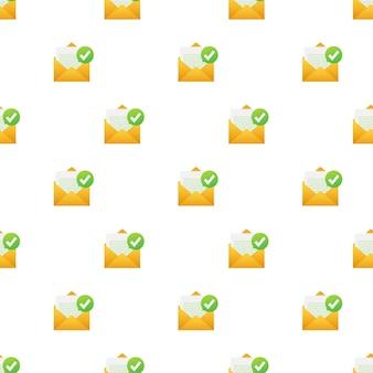 Geopende envelop en document met groen vinkjepatroon. verificatie e-mail. vector illustratie.