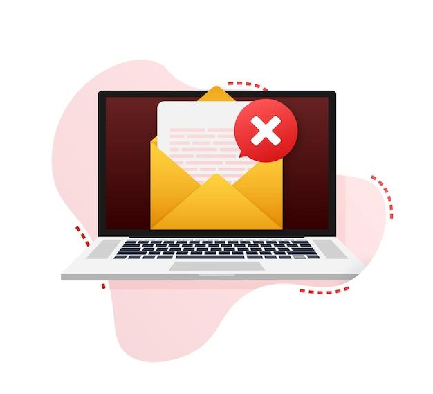 Geopende envelop en document met rood kruisteken. verificatie e-mail. vector illustratie.