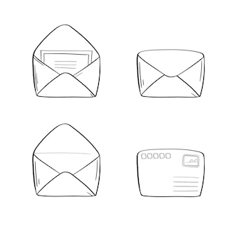 Geopende envelop in lineaire stijl.