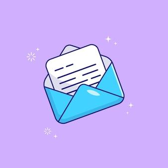 Geopende envelop met notitie papier kaart vlakke afbeelding geïsoleerd