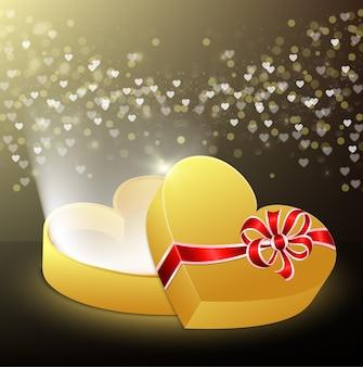 Geopende geschenkdoos in de vorm van een hart met vliegende harten