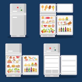 Geopende koelkast met voedsel in vlakke stijl. koelkast open, voedsel en groente, vers en ijs