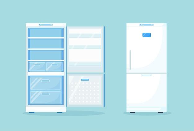 Geopende lege en gesloten koelkast voor verschillende gezonde voeding. koelkast op keuken, vriezer