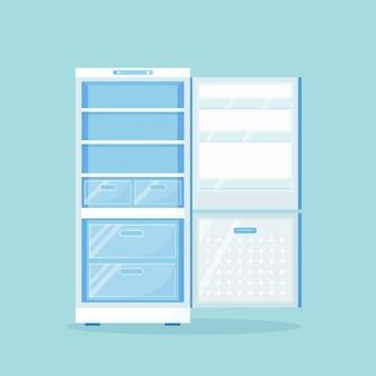 Geopende lege koelkast voor verschillende gezonde voeding. koelkast op keuken, vriezer