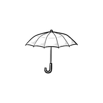 Geopende paraplu hand getrokken schets doodle pictogram. regenbeschermingsaccessoire, regenachtig weerveiligheidsconcept