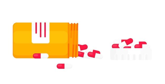 Geopende pillenfles met capsules of tabletten vlakke stijl ontwerp vectorillustratie