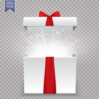Geopende realistische geschenkdoos met paarse strik en abstract licht. vector illustratie.