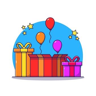 Geopende verrassing geschenkdoos en ballon