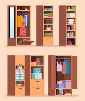 Georganiseerde kledingkast. planken met kleding interieur meubilair voor jassen broeken en schoenen vector tekenfilm set. kledingkastkleding, plank in meubelillustratie
