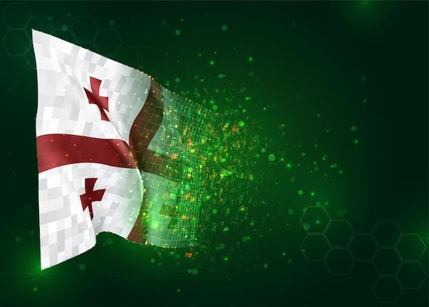 Georgië, 3d vlag op groene achtergrond met polygonengon