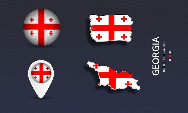 Georgië nationale land golfvlag set