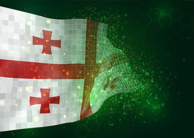 Georgië op vector 3d vlag op groene achtergrond met veelhoeken en gegevensnummers