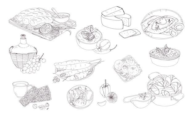 Georgische keuken. verschillende borden. hand getekend zwart-wit afbeelding.