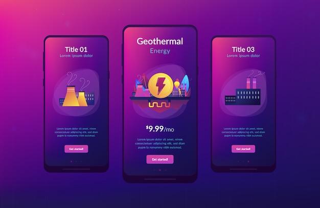 Geothermische energie app-interfacemalplaatje.