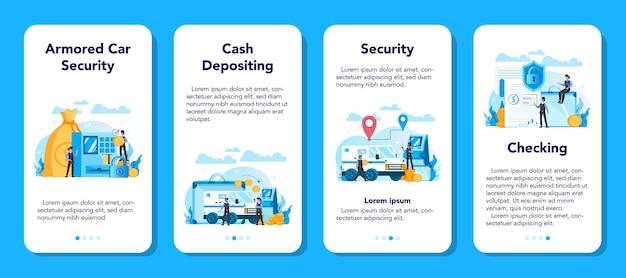 Gepantserde geldwagen beveiliging mobiele applicatie banner set