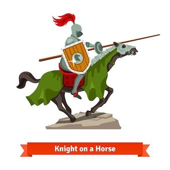 Gepantserde middeleeuwse ridder die op een paard rijdt
